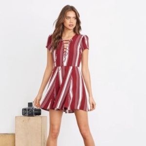LOVERS + FRIENDS striped lace up dress